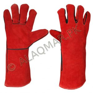WELDING GLOVE WITH LEATHER PIPING